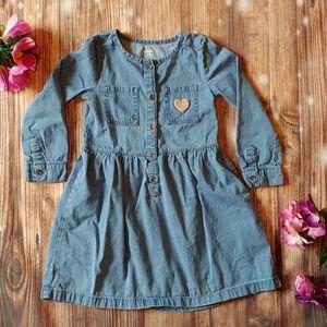 Girls 5T denim long sleeve dress heart pocket